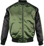 Upscale Mens Zip Up Two Tone Satin Look Bomber Track Jacket Olive/Black