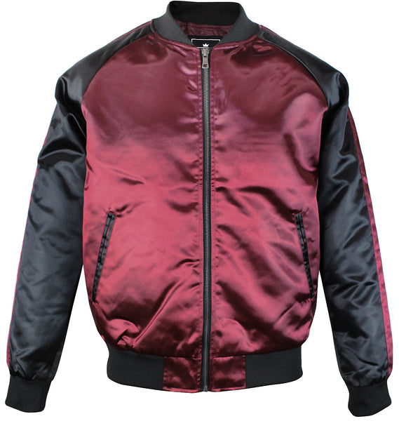 Upscale Mens Zip Up Two Tone Satin Look Bomber Track Jacket Burgundy/Black