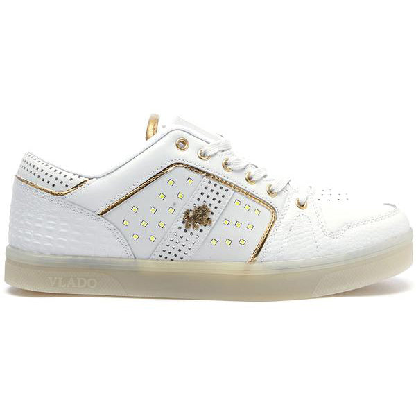 Vlado Footwear Lyte II Mens LED Light Low Top Leather Sneakers IG5801-01 White
