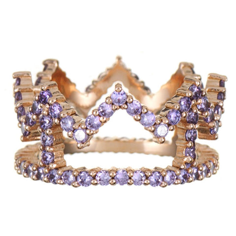 Rose Gold Crown Ring with Lilac Stones