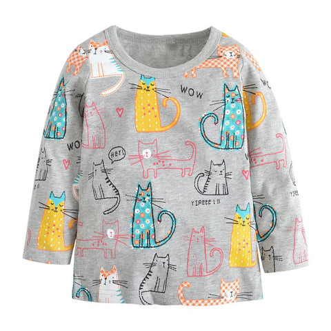SAILEROAD 2-7Year Children Kids Long Sleeve Clothing Autumn 2018 Year Cartoon Cat Girls Tops Tees Clothes Girls Long Sleeve Tops