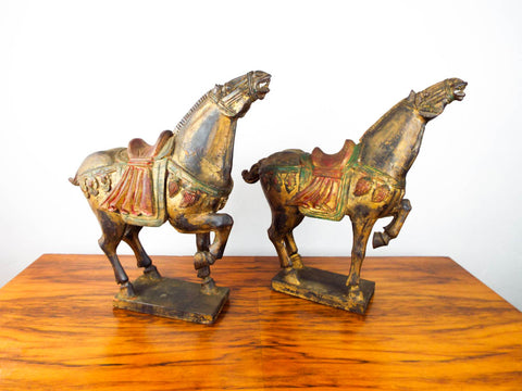 Chinese Wooden War Horse Tang Dynasty Sculptures