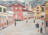 1930s Naive Lowry Style Oil on Canvas Painting by M Simonet - Yesteryear Essentials  - 1