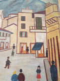 1930s Naive Lowry Style Oil on Canvas Painting by M Simonet - Yesteryear Essentials  - 12