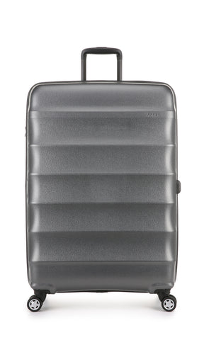 Antler Juno Metallic DLX Large 79cm Charcoal Expandable Hard Suitcase