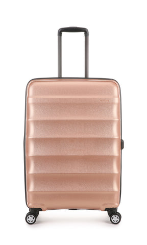 Antler Juno Metallic DLX Medium 68cm Rose Gold Expandable Hard Suitcase