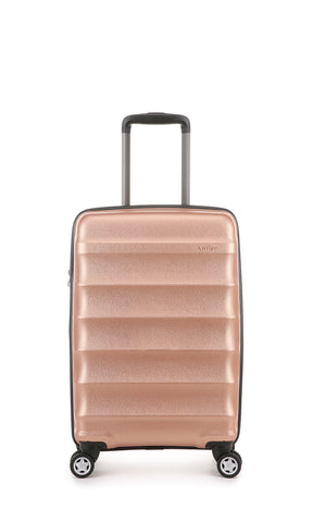 Antler Juno Metallic DLX Cabin 56cm Rose Gold Expandable Hard Suitcase