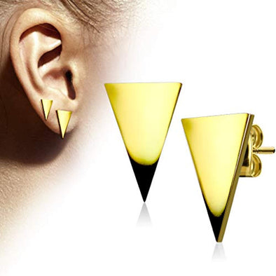 WildKlass Pair of Plain Hand Polished Triangle 316L Stainless Steel Earring Studs-WildKlass Jewelry