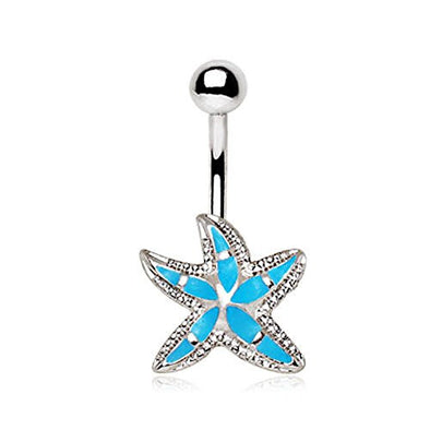 316L Stainless Steel Teal Blue Starfish WildKlass Navel Ring-WildKlass Jewelry