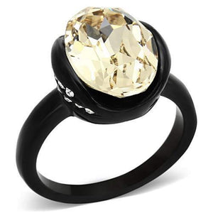 WildKlass Stainless Steel Halloween Ring IP Black Women Top Grade Crystal Light Smoked-WildKlass Jewelry