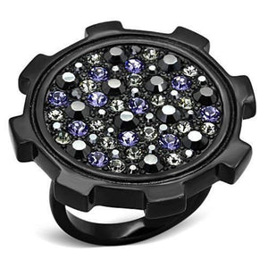 WildKlass Stainless Steel Pave Ring IP Black Women Top Grade Crystal Multi Color-WildKlass Jewelry