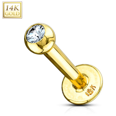 Clear CZ Gem Ball Top 14 Karat Solid Yellow Gold WildKlass Labret Monroe-WildKlass Jewelry