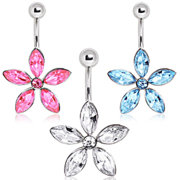 316L Surgical Steel Navel Ring with Star Shaped Flower-WildKlass Jewelry