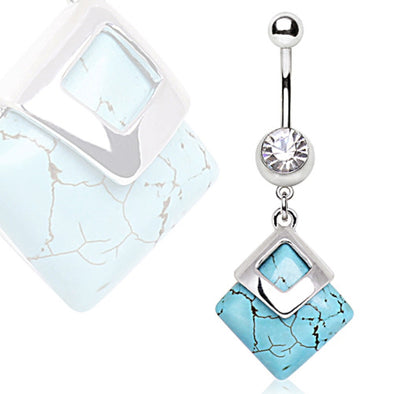 316L Surgical Navel Ring with Square Turquoise Dangle-WildKlass Jewelry