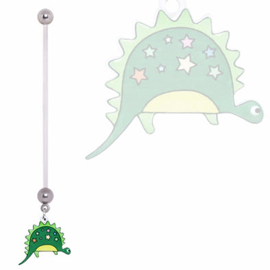 BioFlex Pregnancy Navel Ring with Green and Stars Dinosaur Dangle-WildKlass Jewelry