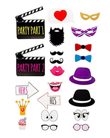 22 Piece Glasses Movie Party Hats Eyes His Hers dress up Booth Photo Props Reception on a stick Decoration Favors