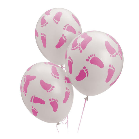 24 Baby Shower Party Pink Footprint Latex Balloons, 11""