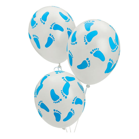 25 Baby Shower Party Blue Footprint Latex Balloons, 11""