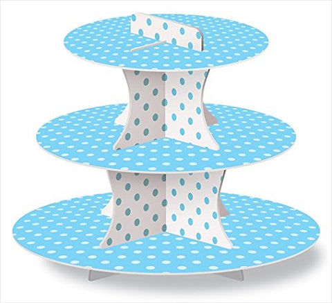 Blue and White Cupcake Stand Polka Dots Baby Shower