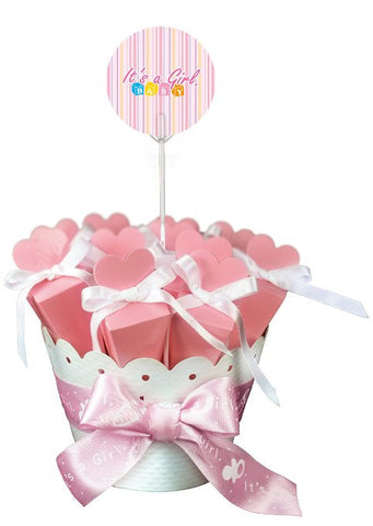 Bouquet of 12 Baby Girl Favor Boxes