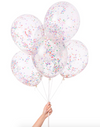 Tiny Rainbow Colored Confetti Filled Balloon- 6 Pack