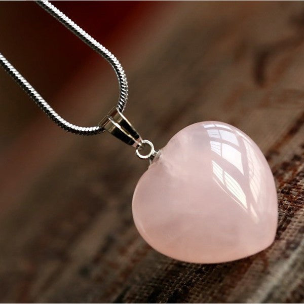 Rose Quartz Heart Pendant - Luna's Warehouse