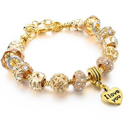 Beaded Gold Charm Bracelet - Luna's Warehouse