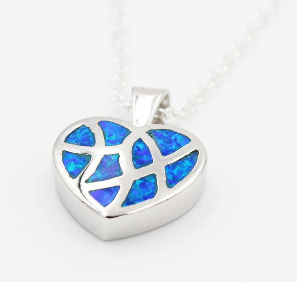 Heart Pendant with Fire Opal Stone - Luna's Warehouse