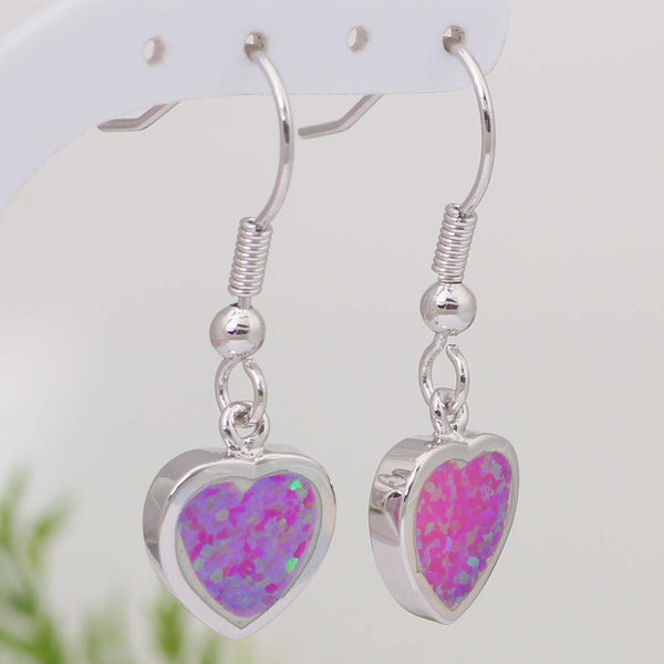 Fire Opal Heart Earrings - Luna's Warehouse