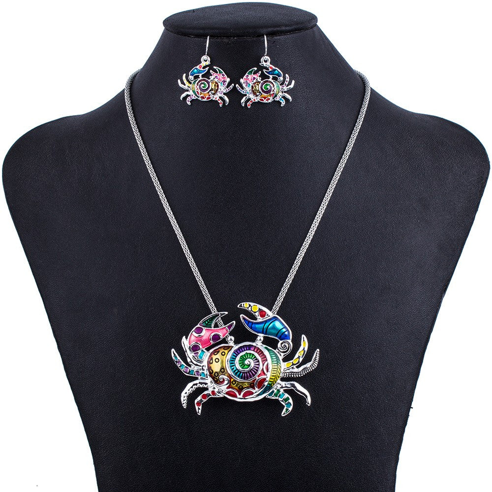 Multi Color Crab Necklace and Earring Set - Luna's Warehouse