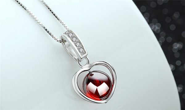 Floating Garnet Heart Necklace - Luna's Warehouse