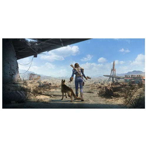 "Fallout 4 Key Art Wall Wrap Poster Dogmeat Female Sole Survivor Panoramic 26"" x 13"" by FanWraps"