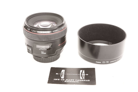 Canon EF 50mm f1.2 L USM with hood ES-78