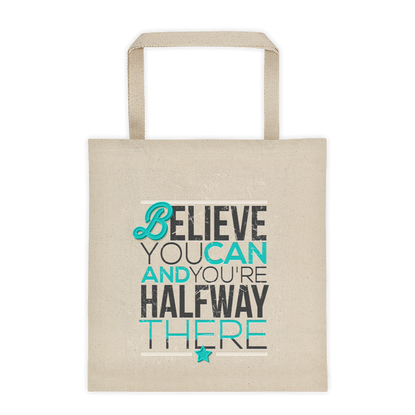 believe+achieve tote bag