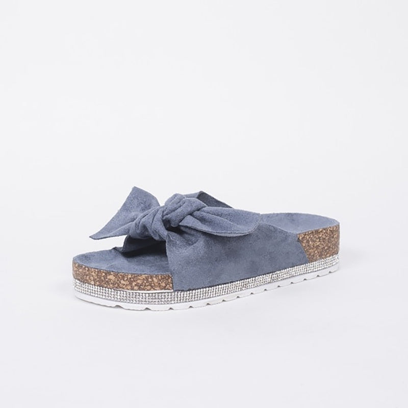 Tex-Time Slippers Med Sløjfe Ideal Shoes Shoes Blue