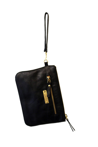 Black clutch bag with wrist strap, zipp closure detailing. Made from Leather.