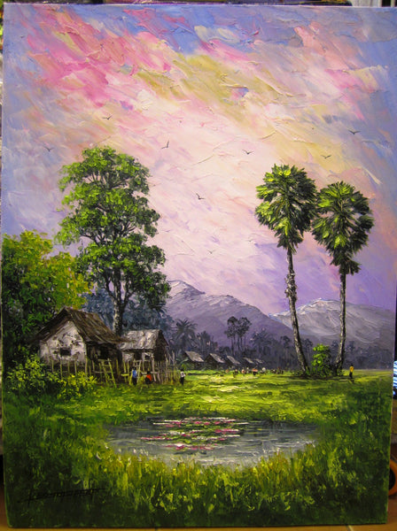 Original Oil Painting of Countryside by Pheap 60x80cm ...