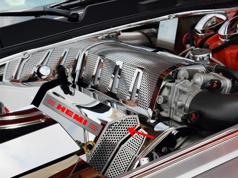 "Challenger/Charger/Magnum/300 SRT 8 Fuel Rail Covers Polished/Perforated ""HEMI"" Illuminated 2008-2011 American Car Craft"