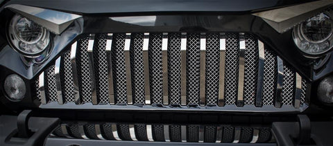 Front Lower Chrome Mesh Grille (07-18 Jeep Wrangler JK with Gladiator Grille) American Car Craft