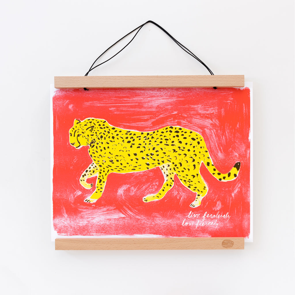 Live fearlessly love fiercely cheetah risograph art print