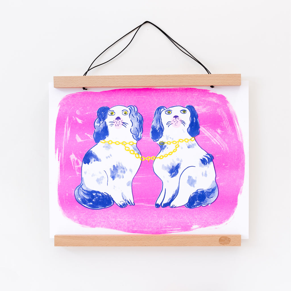 Hand printed Risograph art print of Staffordshire dogs figurine