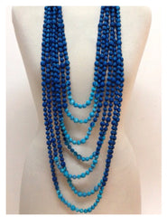 Multi Strand Long Indian Sari Fabric Statement Necklace