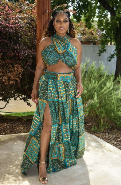 African Print High Slit Maxi Skirt Set