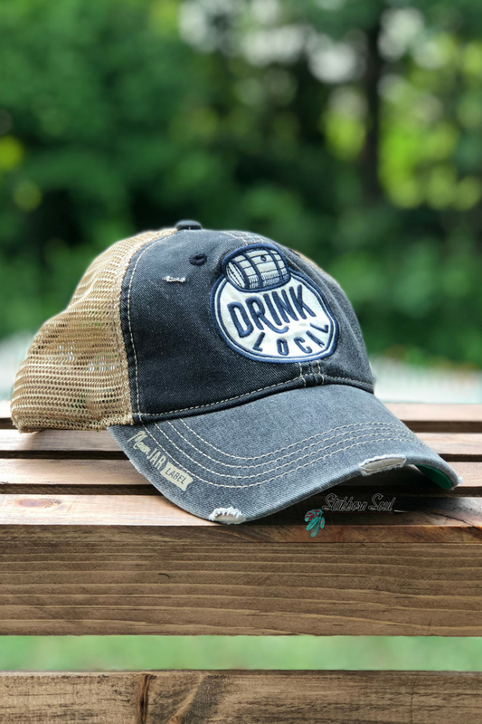 Drink Local Distressed Black Baseball Hat Stubborn Soul Boutique