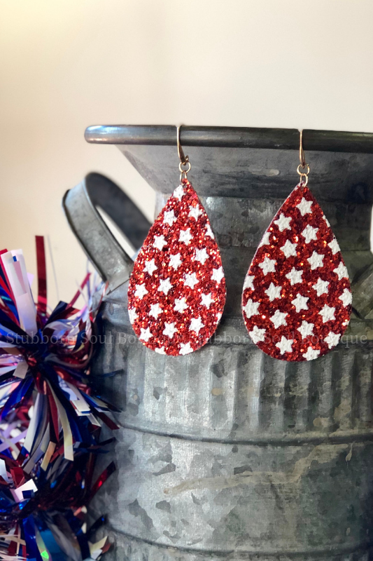 Star Spangled Sparkle Earrings in Red
