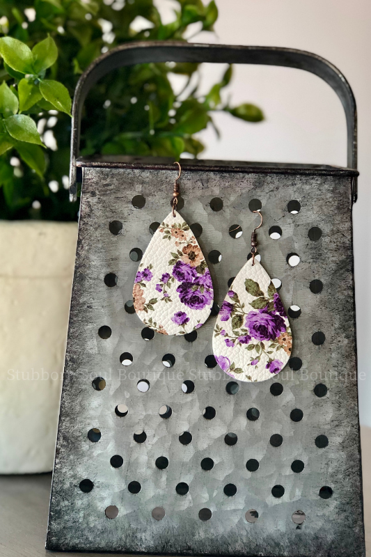 Purple Roses on White Leather Teardrop Earrings Stubborn Soul Boutique