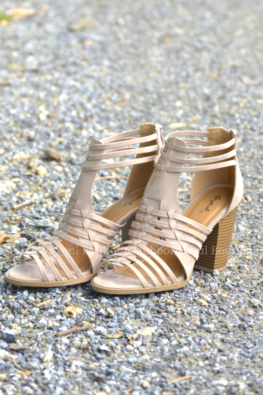 Denver Open Toe Booties in Taupe Stubborn Soul Boutique