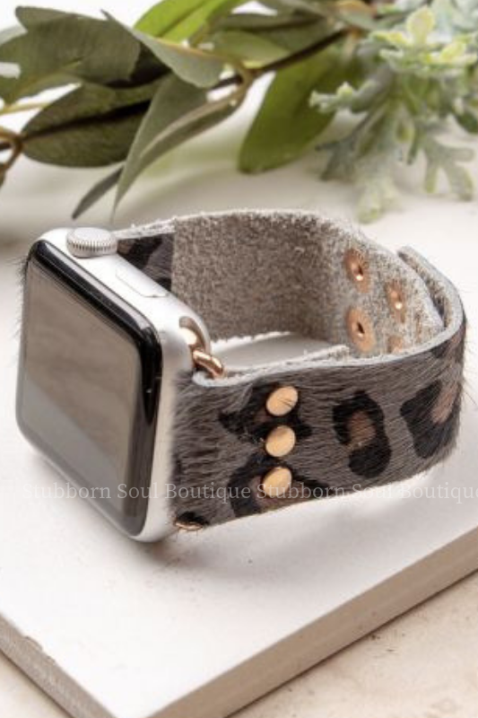 Wildest Dreams Smart Watch Band in Grey Leopard Stubborn Soul Boutique