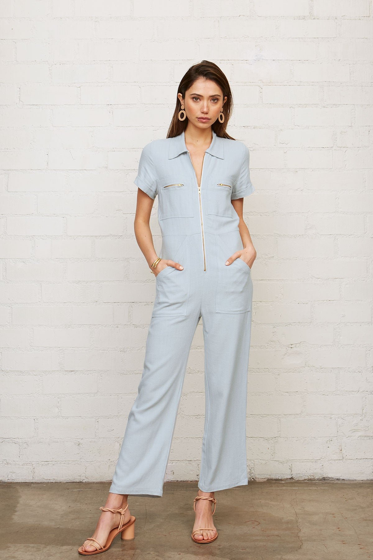 Linen Rocco Jumpsuit - Bluebell