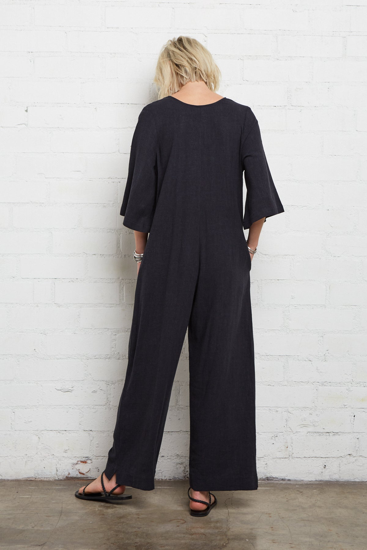 Linen Tory Jumpsuit - Black